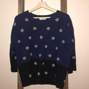 100% merino wool polio dot sweater